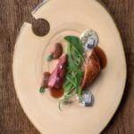 Pichón macerado en algas, crema de sardina y tosta de sus higaditos